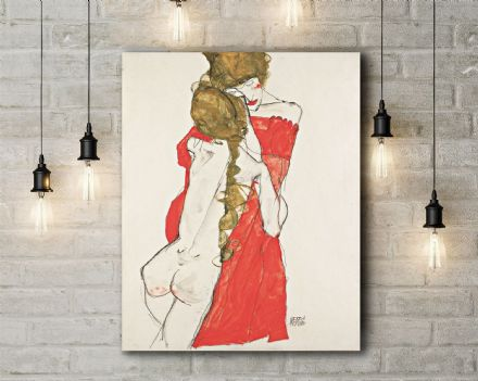 Egon Schiele: Mother and Daughter. Fine Art Canvas.